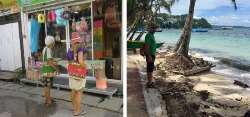Left, Diane and Ellen look at one of the few shops open at D'Mall; right, tedly stands on the seawall at Bulabog Beach on empty Boracay Island.