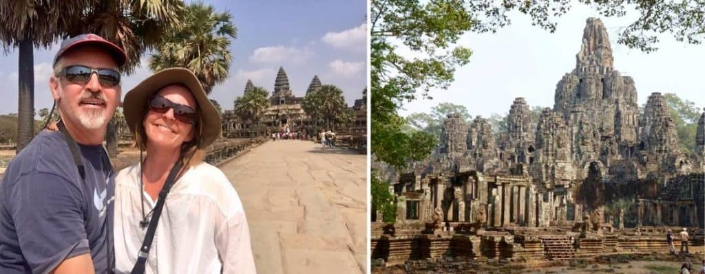 Tedly and Ellen smile at a temple at Angkor Wat in 2019, before the Cambodia coronavirus policy for tourists went into effect.