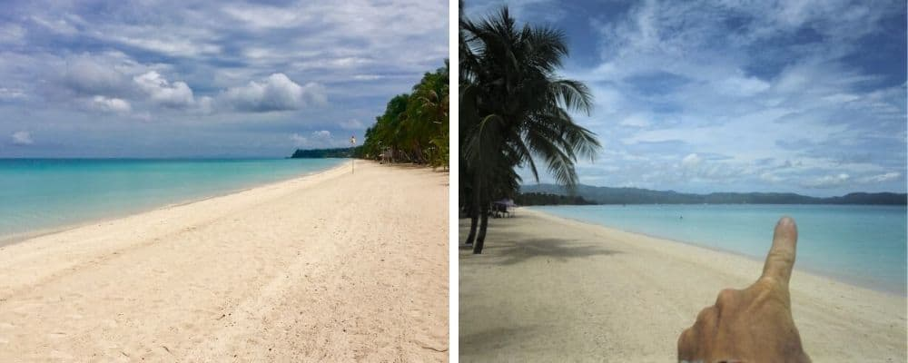 left, boracay white beach; right, tedly points to where the ati land is located across the channel in malay