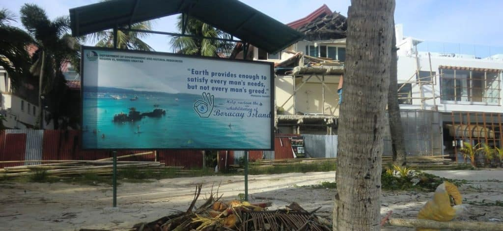"Sign says: ""Earth provides enough to satisfy every man's needs, but not every man's greed."" Boracay Island."
