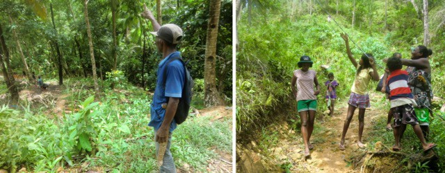 left, Ati chief oversees work in the jungle; right, teens and a woman pull an electric cable through trees.