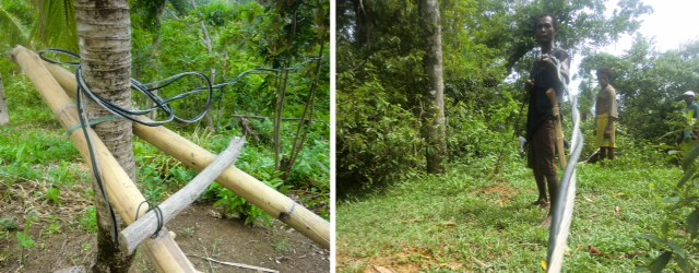 left, cable wrapped around tree trunk in the jungle; right, men work with cable one of the ati community projects