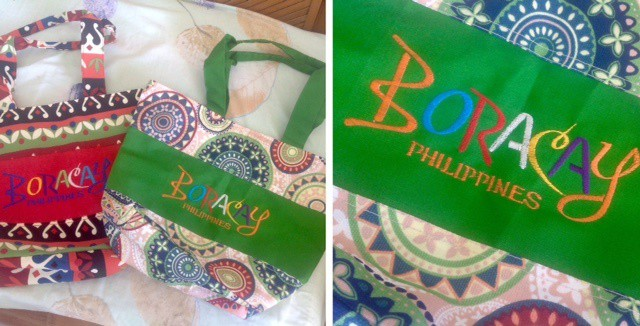 embroidered bags with the same design as the boracay masks