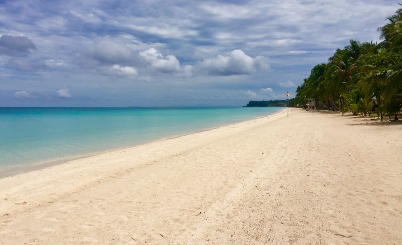White Beach on Boracay Island is deserted - and stunningly beautiful. All beaches are empty on Boracay thanks to the pandemic.