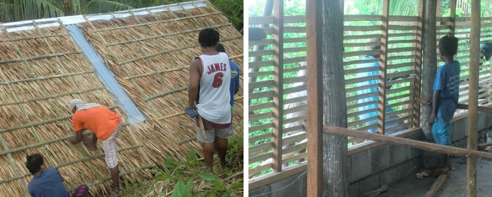 left, men work on the roof of the Ati hen house project; right, wooden slats as a 'screen' at the chicken coop
