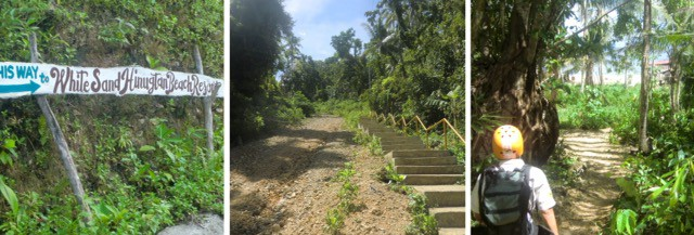 the sign (left), stairs (middle), beach road (right) to the perfect dive spot on panay island