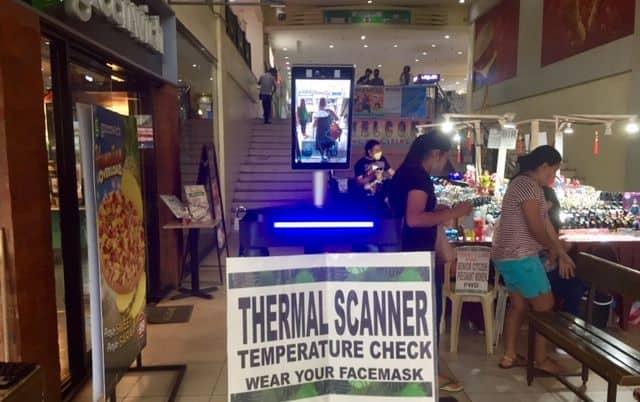 Thermal scanner machine at a mall entrance in Kalibo, Aklan, Panay, Philippines.