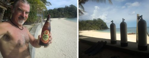tedly with beer, left, air tanks for the dive, right