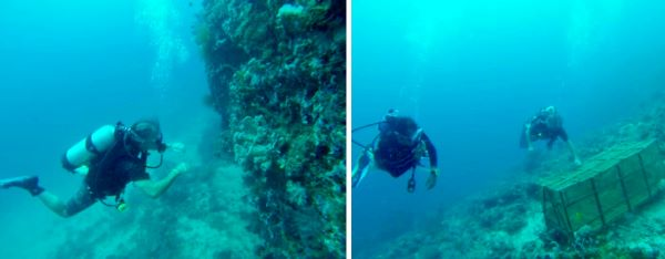 tedly dives along the wall, left, and explores an underwater box, right, at the perfect dive spot on panay island.