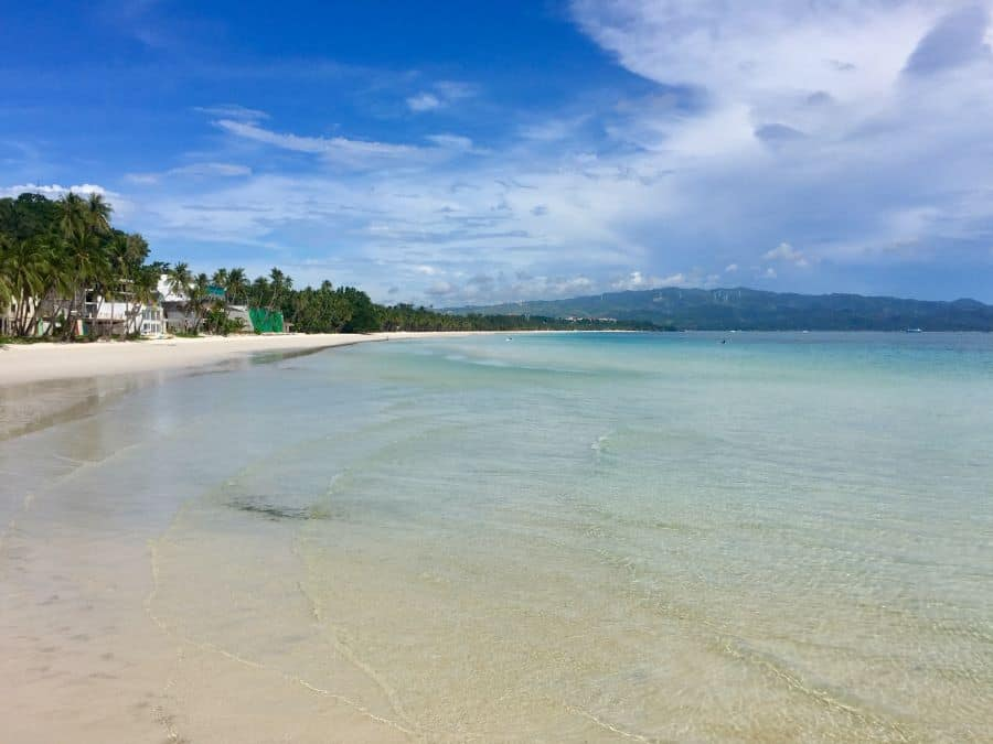 Clear water along nearly the entire length of White Beach on Boracay during the pandemic.