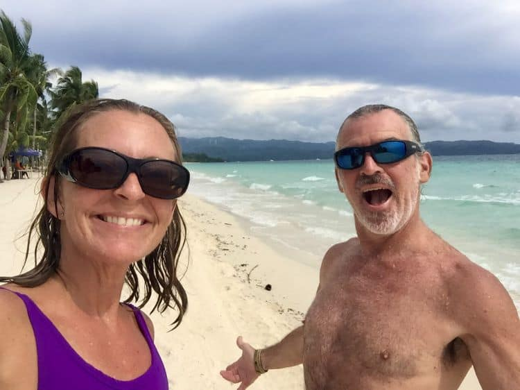 Ellen and Tedly smile after a swim at White Beach on Boracay, after a visit to a Philippine doctor on the island.