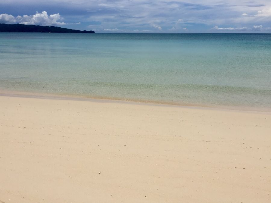 There are not many tourists at Boracay during the pandemic - so there are no footprints in the sand.