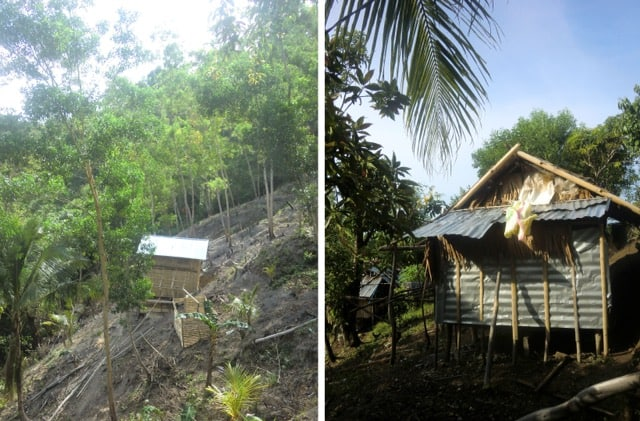 Left, an Ati nipa hut on a slope so steep it hardly seems possible anyone can live there; right, a close up of a nipa hut made with nipa leaves and tin and sticks.