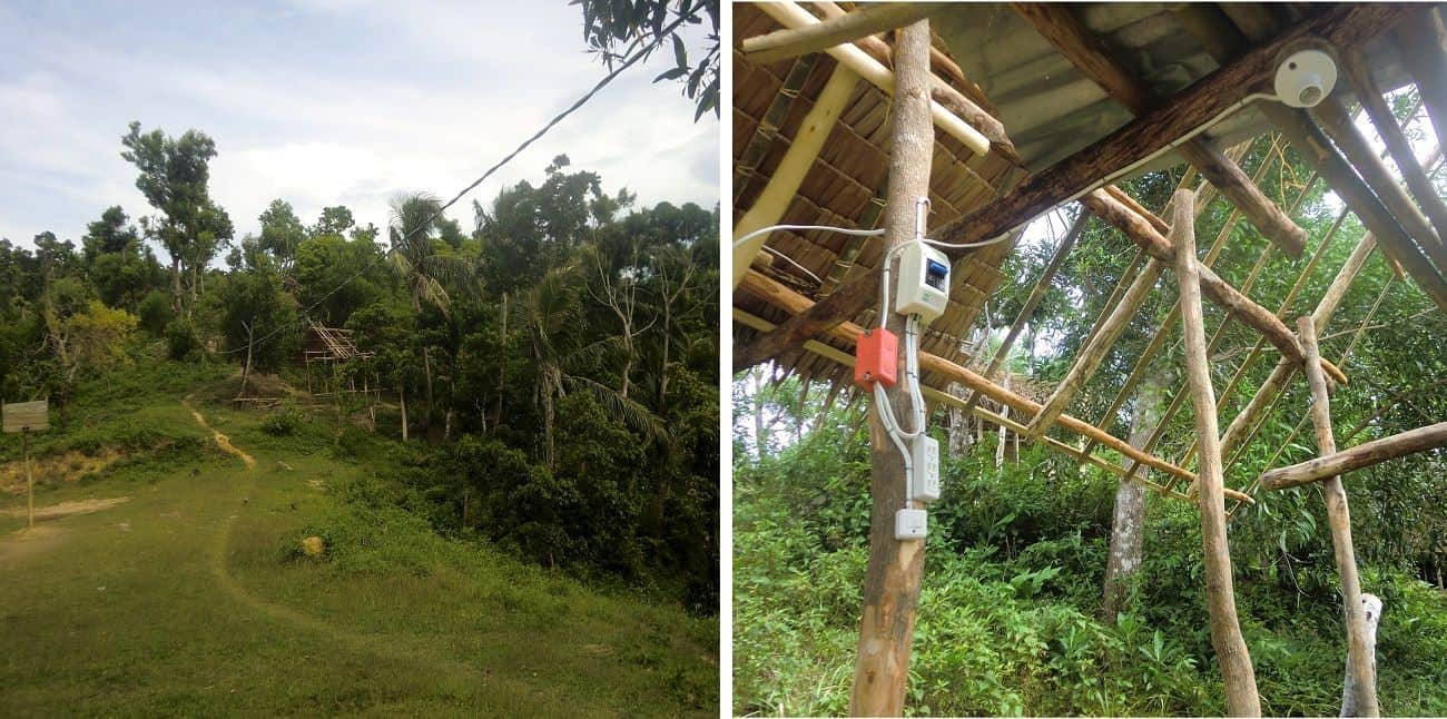 Left, electric cable going up mountainside through trees; right, a nipa hut owned by the Ati is ready for electricity to be hooked up.