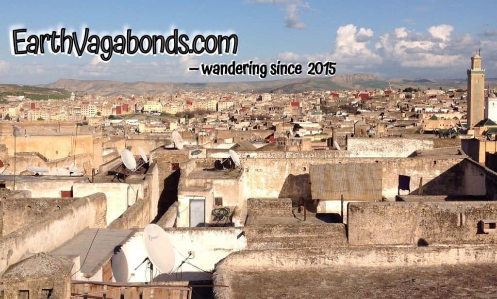 "rooftops in Fez, Morocco with the text, ""EarthVagabonds.com - wandering since 2015."""