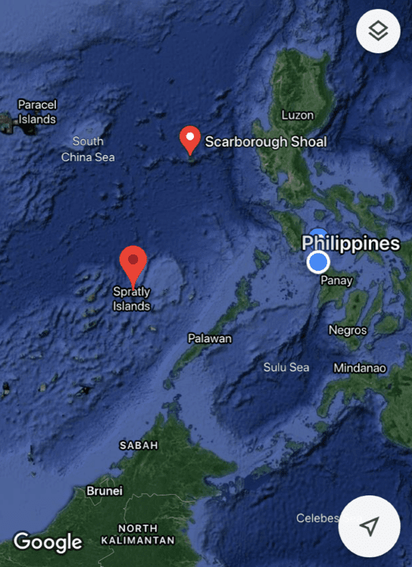 Map shows the Spratly Islands and the Scarborough Shoal, in relation to Panay Island in the Philippines.
