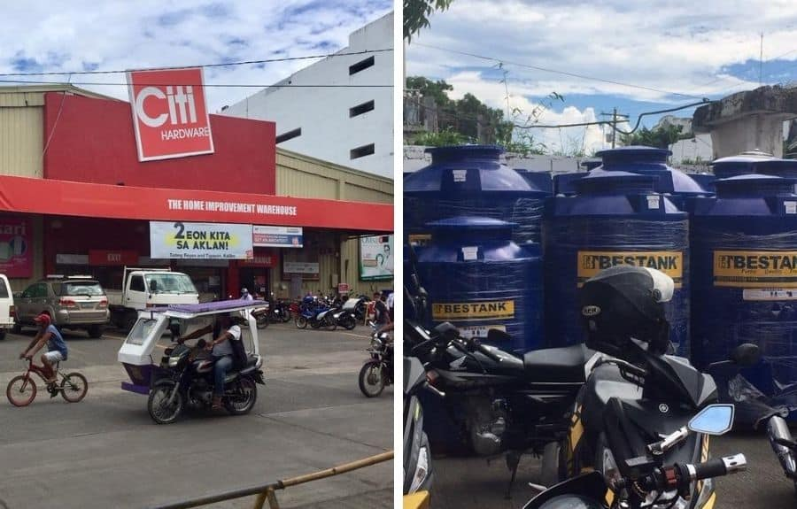Jackpot in Kalibo - CitiHardware has water tanks like these, needed for the Ati community betterment projects.