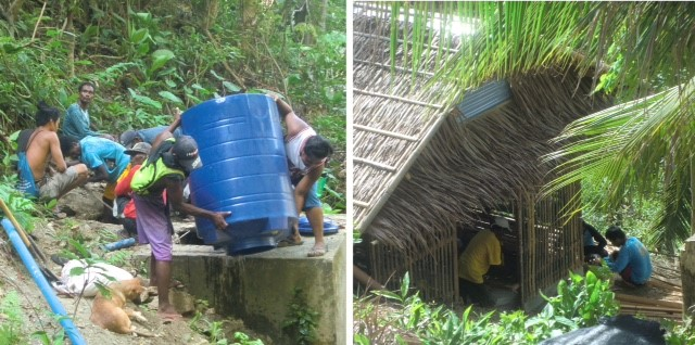Left, Ati men install a water tank; right, Ati work on the henhouse. Both projects are affected by supply shortages to hit Malay.