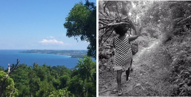 left, view of boracay island; right, pandemic walk with ati woman carrying sticks balanced on her head, and the photo is in black and white to give an older era feel.