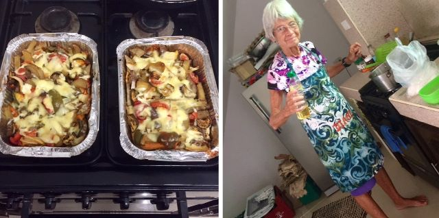 Tedly didn't have to cook on his weekend off with sore feet because Ellen and Mom Diane did, pictured in the kitchen.