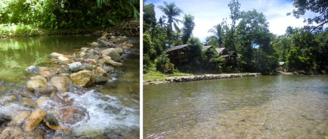 Left, rock dam on Nabaoy River at the resort area; right, nipa huts line the river.