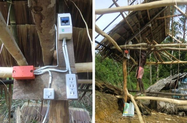 Left, close up of electrical arrangement; right, wide shot of nipa hut under construction.