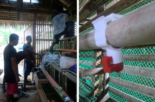 Left, at work on henhouse reservoir; right, nozzle delivers water to chicken cage.