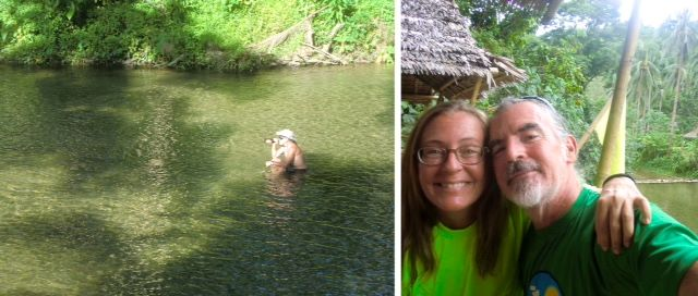 Left, Tedly sitting in river with beer; right, selfie of Ellen and Tedly without masks.