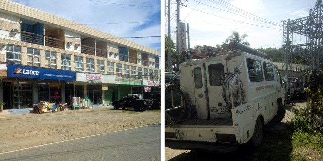 Left, row of stores in Caticlan, a large town in the Malay region; right, Akelco service truck.