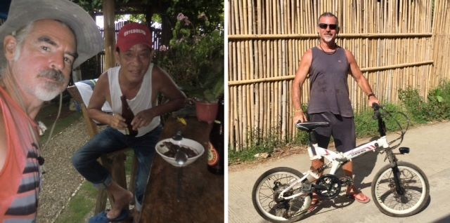 Used motorbike giveaway plan was designed to help Robbie, pictured left; Tedly is pictured right with his bicycle.