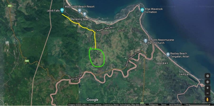 A map illustrates how to find Baluga Hill, which is not on Google maps as of this writing.