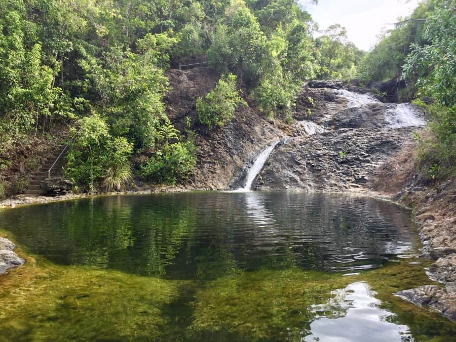 Jawili Falls, seen here from the bottom, is a short car ride from Jawili Beach.