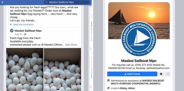 Left, Masboi Facebook post advertising egg sales; right, Masboi sailing logo from Boracay, Philippines.