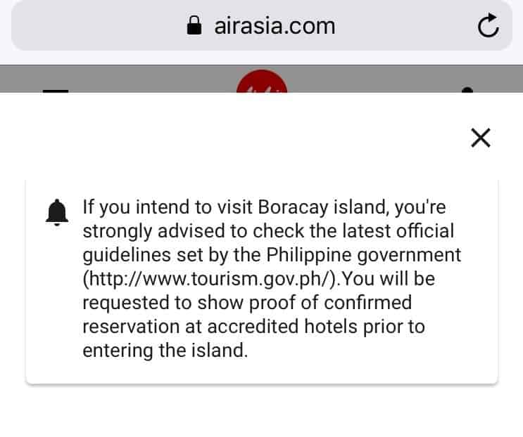 screen shot of the warning window about boracay documents
