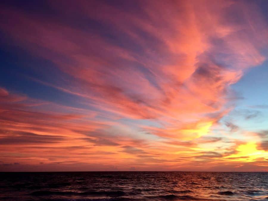 gorgeous pink, yellow, orange, blue, gray sunset.