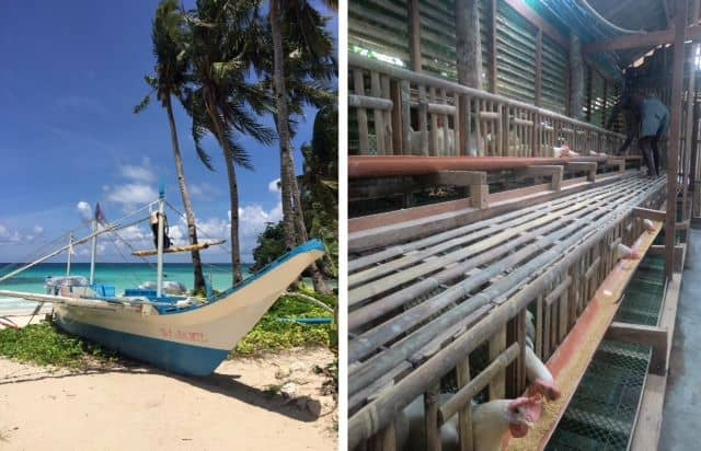 Left, paraw boat beached on Boracay with no tourists, right, fresh egg competition for Ati tribe is part of the new normal in a post-pandemic world.