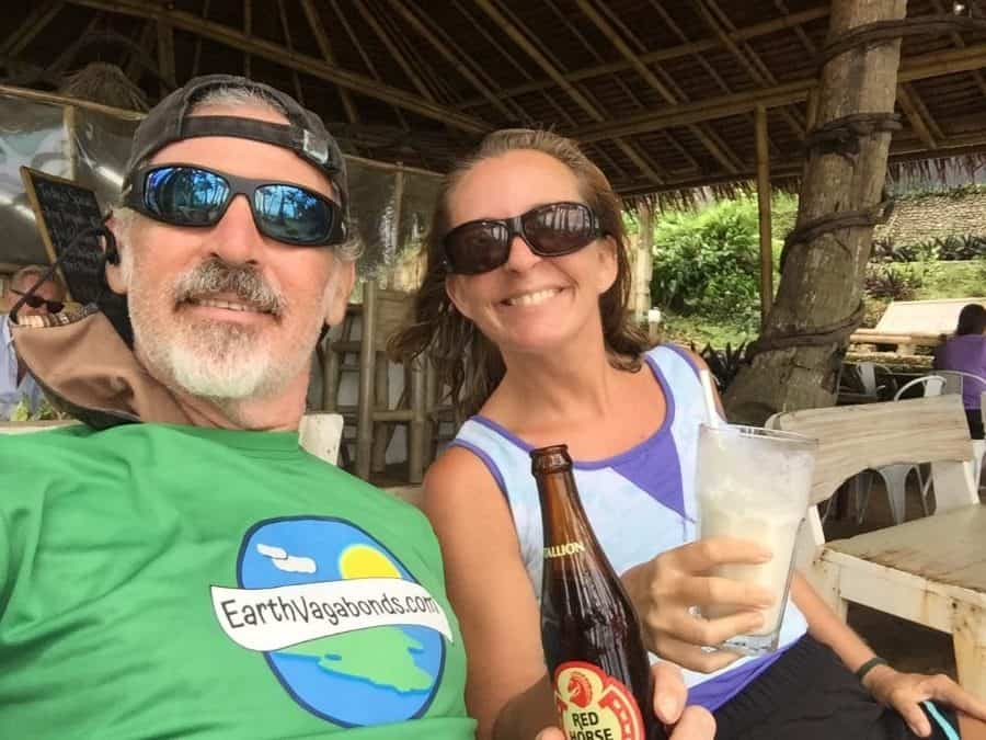 Tedly and Ellen having refreshments at DiniBeach Restaurant on Boracay Island.
