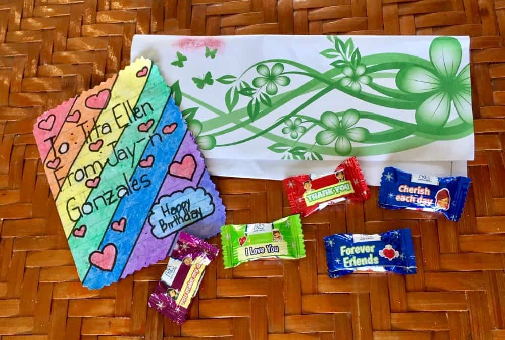 A handmade note and candy made by a teen for Ellen demonstrates their odd friendship in the time of coronavirus.