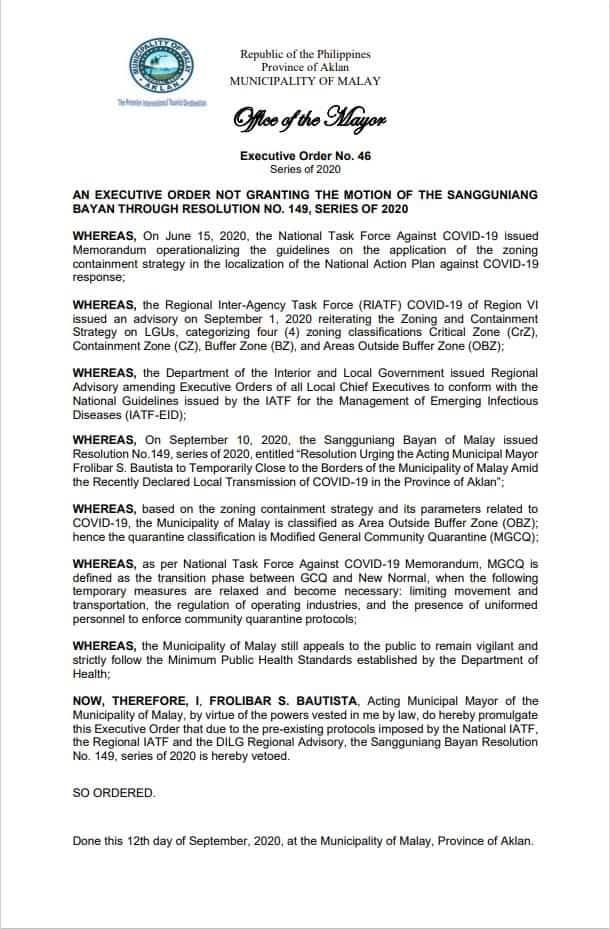 Despite coronavirus in Aklan Province, the Malay acting mayor signed this veto shutting down the municipality