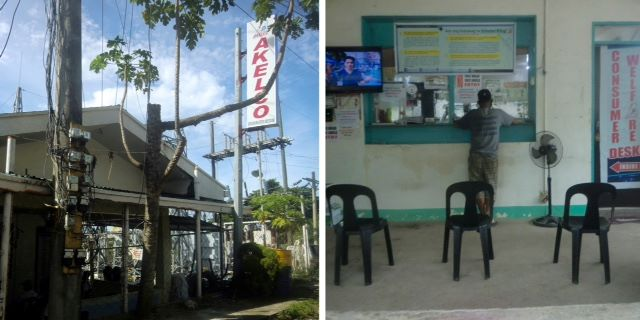 Outdoor picture of Akelco office in Caticlan on the left; an indoor picture of the Akelco office on the right.