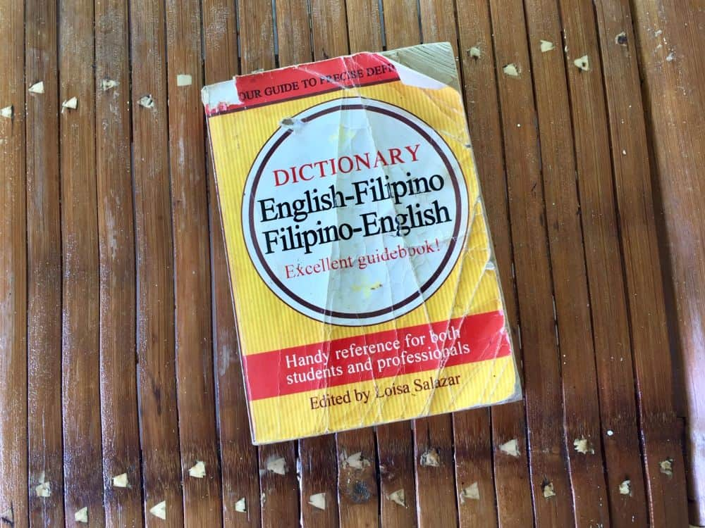 A used Filipino-English dictionary one of the children gave to Ellen for her birthday.