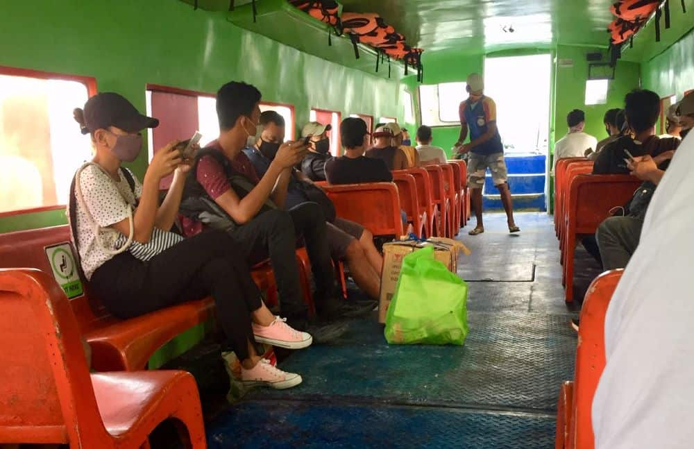 People on a Boracay-bound ferry in August 2020 - before the days of required face shields, and Kalibo COVID-19 transmission cases.