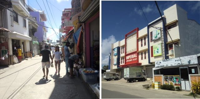 Several stores in Caticlan, the port town for Boracay in Aklan Province in the Philippines.