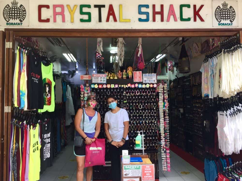 Ellen bought pants at the Crystal Shack, pictured here, after no-see-um bites riddled her legs on the beach in Boracay.