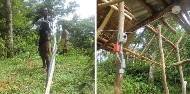 Indigenous Ati tribe members with the wires and connections inside their homes back in June 2020 show the power project progress has been months in the making.