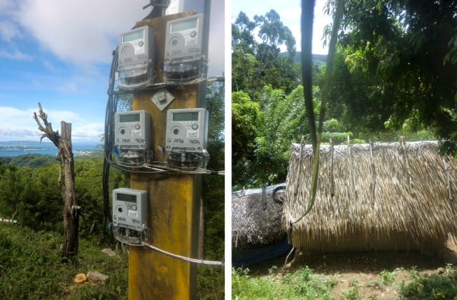 Left, electric meters on Ati land juxtaposed with the view of Boracay Island; right, electric wire coming from the thatched nipa roof of a modest Ati home in the upper Malay Village on Panay Island in the Philippines.