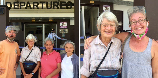 Left, Theo, his mom Diane, and her two friends the day she left Malay for the U.S.; right, mom Diane and Ellen.