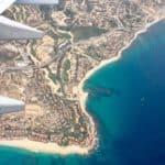cabo san lucas seen from a flight window