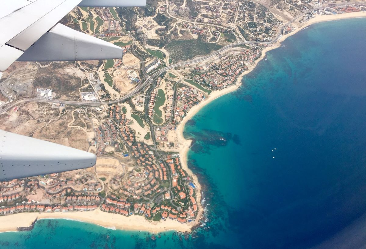 cabo san lucas seen from a flight window