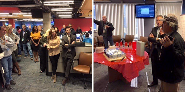 Colleagues celebrate Theo's retirement in the TV station where he worked.